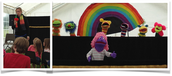 Fiona leads the puppets at Warwick Churches' Party in the Park