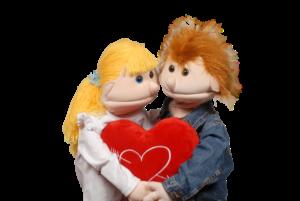 puppets hugging